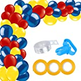 115 Pack Blue Red Yellow Balloon Arch and Garland Kit-115pcs Latex Balloons, 16 Feets Arch Balloon Strip Tape, Balloon Tying Tool for Wonder Woman Party Spiderman Superhero Birthday Baby Shower Decor (Color: Blue, Red, Yellow)