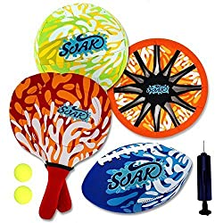 Soak Beach Game Combo 4 In 1 Set Water Series For Beach And Summer Fun (Includes One Volleyball, Football, Beach Paddle, Frisbee And Comes With A Air Pump)