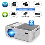 Mini Portable Pico Projector 3200 lumens Android 6.0 WiFi Bluetooth Full HD 1080p Video Projector LCD LED Smart Proyector with Airplay Miracast Wireless Smart Phone Mirror Home Cinema Outdoor Movie (Color: portable projector wifi bluetooth)