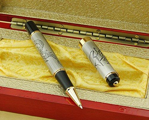 Lanxivi Jinhao de dragón chino camiseta de plateado bolígrafo de punta redonda o cama de matrimonio con caja de regalo