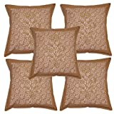 Lalhaveli Traditional Indian Cotton Cushion Cover With Hand Block Print Work 16 X 16 Inches Brown Colored