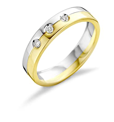 Miore 18ct Two Tone Gold Ring with Diamonds