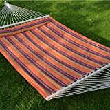 Strong Camel STRIPE-ORANGE-PURPLE Hammock Double Size Quilted Fabric Heavy Duty Sleep Bed W/Pillow + wooden stick