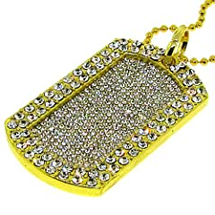 Mens Dog Tag Pendant with 38 Necklace - 24k Gold Plated - Heavy Bling