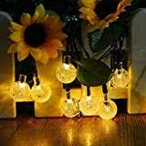 [21ft 30LED]Solar Globe Outdoor Halloween Decorations String Lights, Ecjiuyi Fairy Christmas Garden Ball Solar Powered Lights for Patio, Indoor, Bedroom, Holiday, Party Decor(Warm White ,Waterproof)