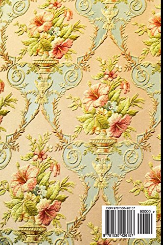 Journal Daily: Unique Golden Flower Vase Damask Print, Unique Stylish Lined Blank Journal Book, 6 x 9, 200 Pages, Daily Journal Notebook