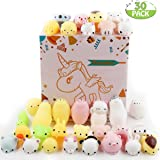 POKONBOY 30 Pcs Mochi Squishy Toys Mochi Kawaii Squishies Squishy Animals Stress Toys Stress Relief Animal Toys Squeeze Toys Party Favors