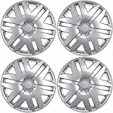 "OxGord Hubcaps for Toyota Sienna Set of 4 Pack Auto Wheel Covers, Aftermarket Factory Replacement with High Quality ABS SilverPlastic Fits 15"" Inch Car Tire"