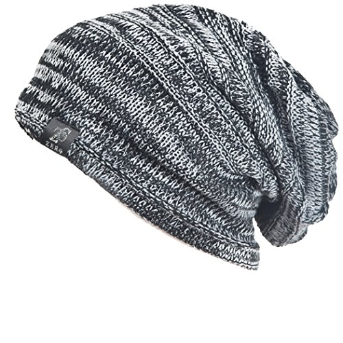 Z&s Vintage Men Baggy Beanie Slouchy Knit Skull Cap Hat (Black w White)