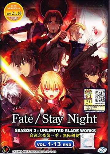 Fate/Stay Night Season 3 : Unlimited Blade Works DVD eps : 1 to 13 end / English Subtitle