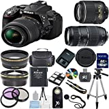 Nikon D5300 24.2 MP CMOS Digital SLR with 18-55mm f/3.5-5.6 AF-S DX VR NIKKOR Zoom Lens (Black) + Tamron 70-300mm Zoom Lens + Lens Cap Keeper + .43x Wide Angle Lens + 2.2x Telephoto Lens + High Power Slave Flash + Wireless Remote + Deluxe 3pc Filter Kit (UV + CPL + FLD) + Gadget Bag + 16GB Complete Accessory Bundle