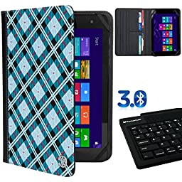 Deluxe Travel Portfolio Blue Checkers For Skytex Skypad 7 / Sony Xperia Z3 8 / Sylvania SDVD / Tagital TAG /A Series/ TabletExpress Dragon Touch 7 8 + Bluetooth Silicone Keyboard