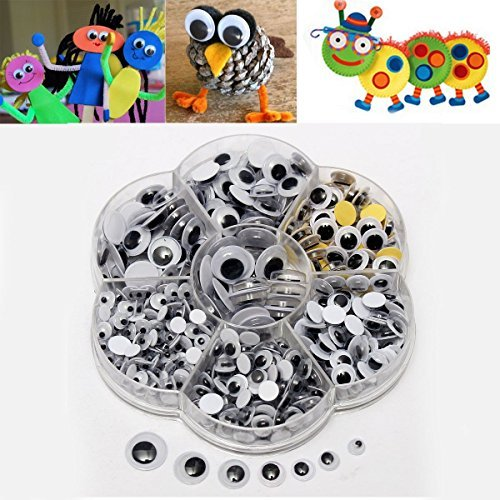 1 Box 5 to 12mm Round Wiggly Wobbly Googly Eyes Children Kids DIY Self Adhesive Scrapbooking Crafts (Kidcraft Washer compare prices)