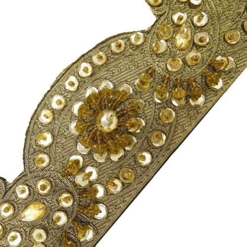 Light Gold Cut Style Hand Beaded Ribbon Trim Border Lace Sewing Craft 1 Yd