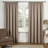 Sandringham Jacquard Motif Design Fully Lined Readymade Pencil Pleat Curtains, Taupe - 66