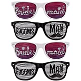 BMC 4 pc Black and White Wedding Party Decal Wayfarer Style Sunglasses - Bridesmaids & Groomsmen