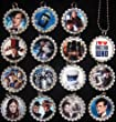 15 DOCTOR WHO Flat Bottle Cap Necklaces for Birthday, Party Favor Set A2