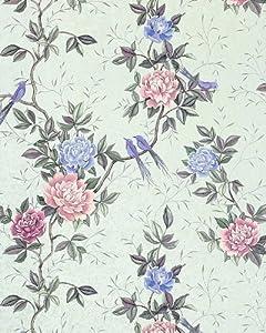 EDEM 831-24 deluxe deep embossed flower wallpaper chinese roses paradise-birds light grey blue-grey purple pink   75 sq feet from EDEM