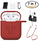 AirPods Case Cover,GIM 7 In 1 AirPods Accessories Silicone Airpods Protective Cover Set with Clip Holder/Keychain/Strap/Earhooks/Soft Storage Bag for Apple Airpod (Red) (Color: 7 in1 Red)