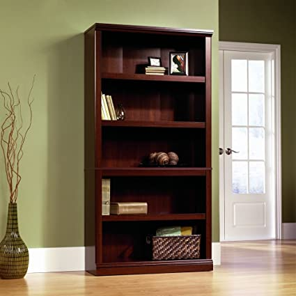 Sauder 5-Shelf Bookcase, Select Cherry Finish