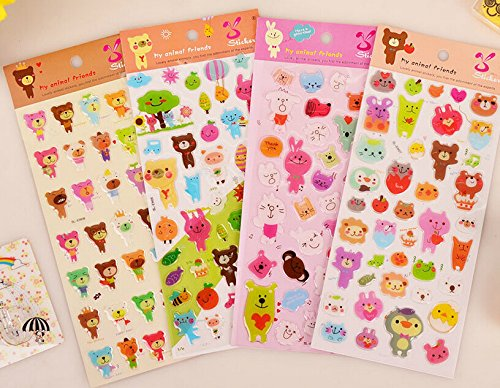 ONOR-Tech 4 Sheets Cute Lovely 3D DIY Cartoon Animal SL-EW Decorative Adhesive Sticker Tape / Kids Craft Scrapbooking Sticker Set for Diary, Album