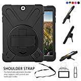 Galaxy Tab S2 9.7 Case, dropproof High Impact Resistant Heavy Duty Armor Cover W/ Hand strap handle shoulder belt Carry case for Samsung SM-T810/SM-T813/SM-T815 T810 9.7 inch tablet(Black)