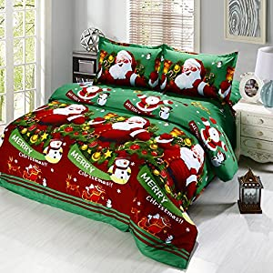 Anself 3D Printed Cartoon Merry Christmas Santa Claus Bedding Sets, Soft and Warm