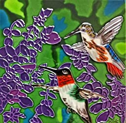 Continental Art Center BD-2024 8 by 8-Inch Two Hummingbird with Purple Flowers Ceramic Art Tile