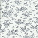 Mini Toile de Jouy Fabric La Petite Toile de Jouy Grey on a soft cream white base cloth 100 Cotton Designer Print 155 cm 61 inches wide Per half metre 05m increment