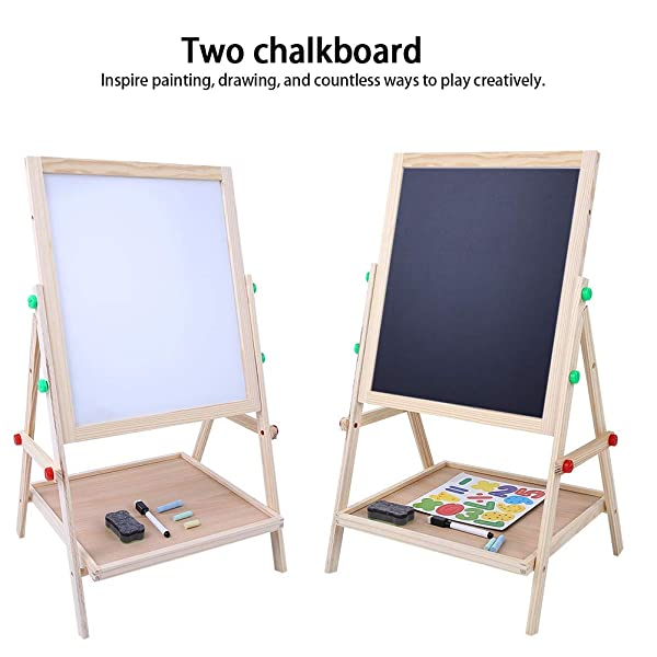 Yosoo Wooden Drawing Board-Double Sided Adjustable Kids Drawing Easel Board for Toddlers Children Learning
