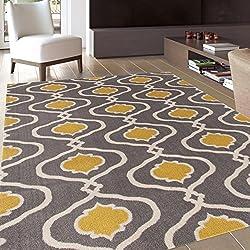 Moraccan Trellis Modern Gray/Yellow Area Rug 2' x 3'