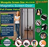 KARP Premium Quality Magnetic Screen Door Full Frame Velcro - Keep Bugs Out Lets Fresh Air In. No More Mosquitos or Flying Insects - Children and Pet Friendly, Instant Bug Mesh with Top-to-Bottom Seal, Snaps Shut Like Magic for a Hands-Free Bug-Proof Curtain (3 Foot Length X 7 Foot Height) (Black Color) Package weight - 635 Gram