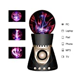 ElementDigital Magic Plasma Ball Touch Sensitive Plasma Ball with Bluetooth Speaker Desdtop Light Lightning Lamp Party Xmas Gift Fantastic Flashing Lightning Ball Spherical (Black+Gold) (Color: Black+Gold)