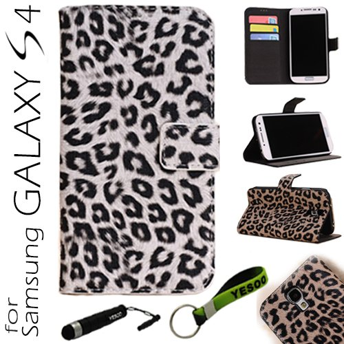 Yesoo (White) Leopard Skin Leather Wallet Pouch Wallet Case Cover With Magnetic Flap Closure For Samsung Galaxy S4 Iv S 4 I9500, Black Interior Including Credit Cards Holder & Pockets To Keep Bank Cards, Driver License, Id Cases Come With Aluminum Touch P