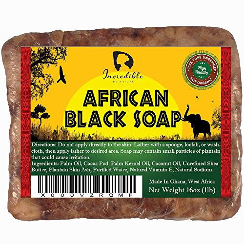 #1 Best Quality African Black Soap - 1lb (16oz) Raw Organic Soap for Acne, Dry Skin, Rashes, Scar Removal, Face & Body Wash, Authentic Beauty Bar From Ghana West Africa Incredible By Nature (Answers From Nature compare prices)