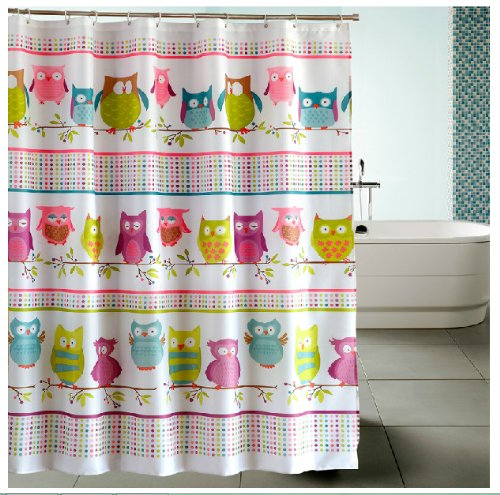 Eforgift Animal Printed Vivo Owl Polyester Fabric Shower Curtains 72-inch By 72-inch Multi-color with 12 Free Hooks