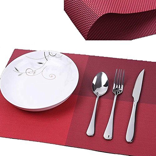 High Quality Grid Design PVC Insulation Anti-skidding Dining Room Placemat- Dining Room Placemats for Table Heat Insulation Anti-skid Stain-resistant Simple Style Eat Mat – Set of 4 (Burgundy)