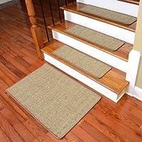 Dean Attachable Non-Skid Sisal Carpet Stair Treads - Desert - Set of 13 Plus a 2' x 3' Mat