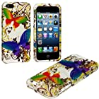 myLife Colorful Butterflies and Golden Flakes Series (2 Piece Snap On) Hardshell Plates Case for the iPhone 5/5S (5G) 5th Generation Touch Phone (Clip Fitted Front and Back Solid Cover Case + Rubberized Tough Armor Skin)