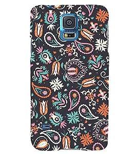 BLUE ETHNIC PATTERN 3D Hard Polycarbonate Designer Back Case Cover for Samsung Galaxy S5 Mini :: Samsung Galaxy S5 Mini G800F