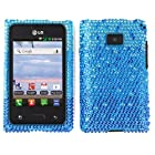 Fincibo (TM) LG Optimus Logic L35g Dynamic L38c Bling Crystal Full Rhinestones Diamond Case Protector - Large Waterfall Blue