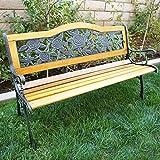 Bellezza© Patio Park Garden Bench Porch Path Chair Furniture Cast Iron Hardwood, Floral