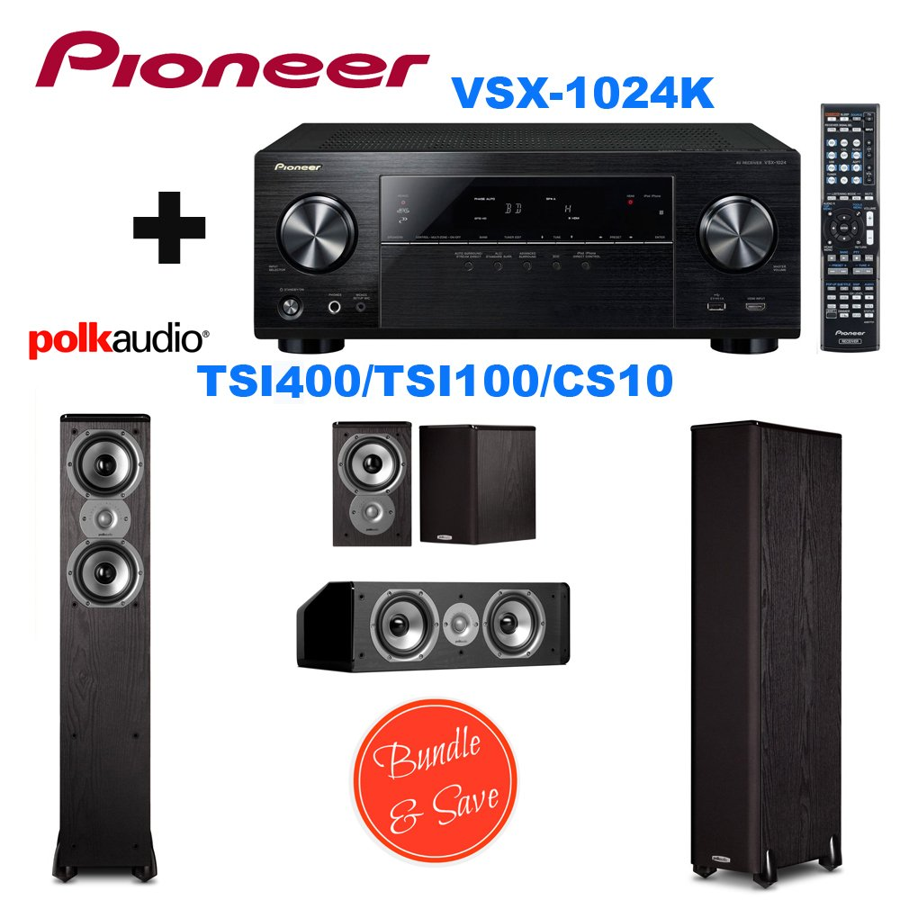 Pioneer VSX-1024 7.2-Channel Network A/V Receiver (Black) + 2 Polk Audio TSi400 Speaker - 2-way - Black + Polk Audio TSi100 Bookshelf Speakers (Pair, Black) + Polk Audio CS10 Center Channel Speaker (Single, Black)