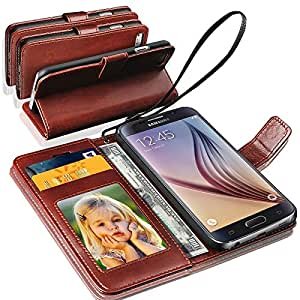 N+ India Samsung Galaxy S6 Rich Leather Stand Wallet Flip Book Pouch Soft Phone Bag Antique Leather Case Brown