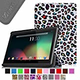 """Fintie Slim Shell Case Cover for 7"""" Android Tablet inclu. Dragon Touch 7"""" Y88X / Y88, A13 Q88, iRulu 7 inch Android Tablet PC, iRulu X1s HD 7 Inch, Alldaymall A88X 7"""", Osgar Ultrathin 7 inch 16GB Tablet PC, ProntoTec Axius Series 7"""" Android 4.2 Tablet PC, ProntoTec 7"""" Android 4.4 KitKat Tablet PC, NeuTab N7/ N7 Pro 7"""", DigiToys 7 Inch Dual Core Android Tablet PC, Simbans S74 7"""", NORIA T2 7"""", Chromo Inc 7 Inch Tablet, Noria JR 7"""" , DeerBrook 7""""A23, Matricom G-Tab Nero CX2, Andteck TouchTab 7'' A23, FONESO Ultrathin 7"""" A23, Afunta AF701 7"""", Axis A23 7"""" (PLEASE check the complete compatible tablet list under Product Description) - Leopard Rainbow"""