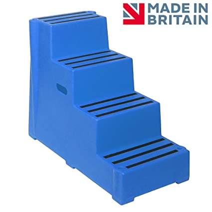 4 Tread Heavy Duty Blue Plastic Moulded Safety Block Steps