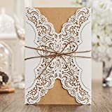 Wishmade Laser Cut Handmade Wedding Invitations Cards White 50 Pieces Kit for Marriage Engagement for Birthday Bridal Shower with Rustic Rope Envelopes Seals Party Favors