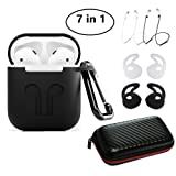 AirPods Case,7 In 1 Airpods Accessories Protective Silicone Cover and Skin for Apple/iPhone Airpod Charging Case with Earpods Earhook/Anti-lost Staps/Clips/Keychain/Zipper Box (Black)-Jeselry (Color: Black)