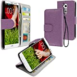 myLife Lavender Purple Pebbled Print {Luxury Design} Faux Leather (Multipurpose – Card, Cash and ID Holder + Magnetic Closing) Folio Slimfold Wallet for the LG G2 Smartphone (External Textured Synthetic Leather with Magnetic Clip + Internal Secure Snap In Closure Hard Rubberized Bumper Holder) by NYC Leather Factory Outlet