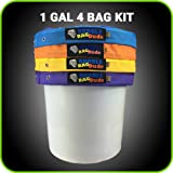 BUBBLEBAGDUDE 1 Gallon 4 Bag Set - Herbal Ice Essence Extractor Kit - Comes with Pressing Screen and Storage Bag